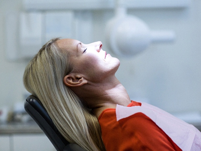 Woman relaxed in dental chair